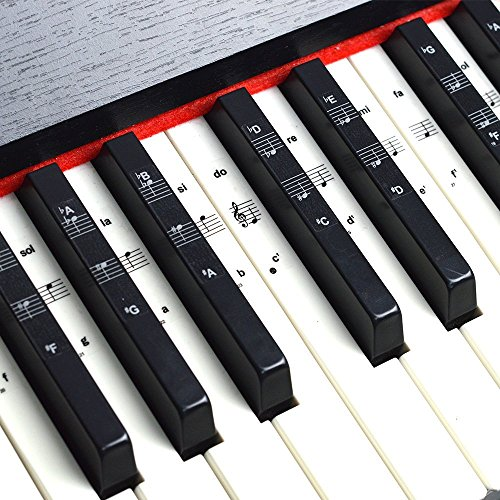 Imelod Keyboard of Piano Stickers voor 49/61/76/88 Keyboards, Piano en Keyboard Music Note Volledige Set Stickers voor Witte en Zwarte Sleutels, Transparant en Verwijderbaar, Perfect voor Kinderen en Beginners