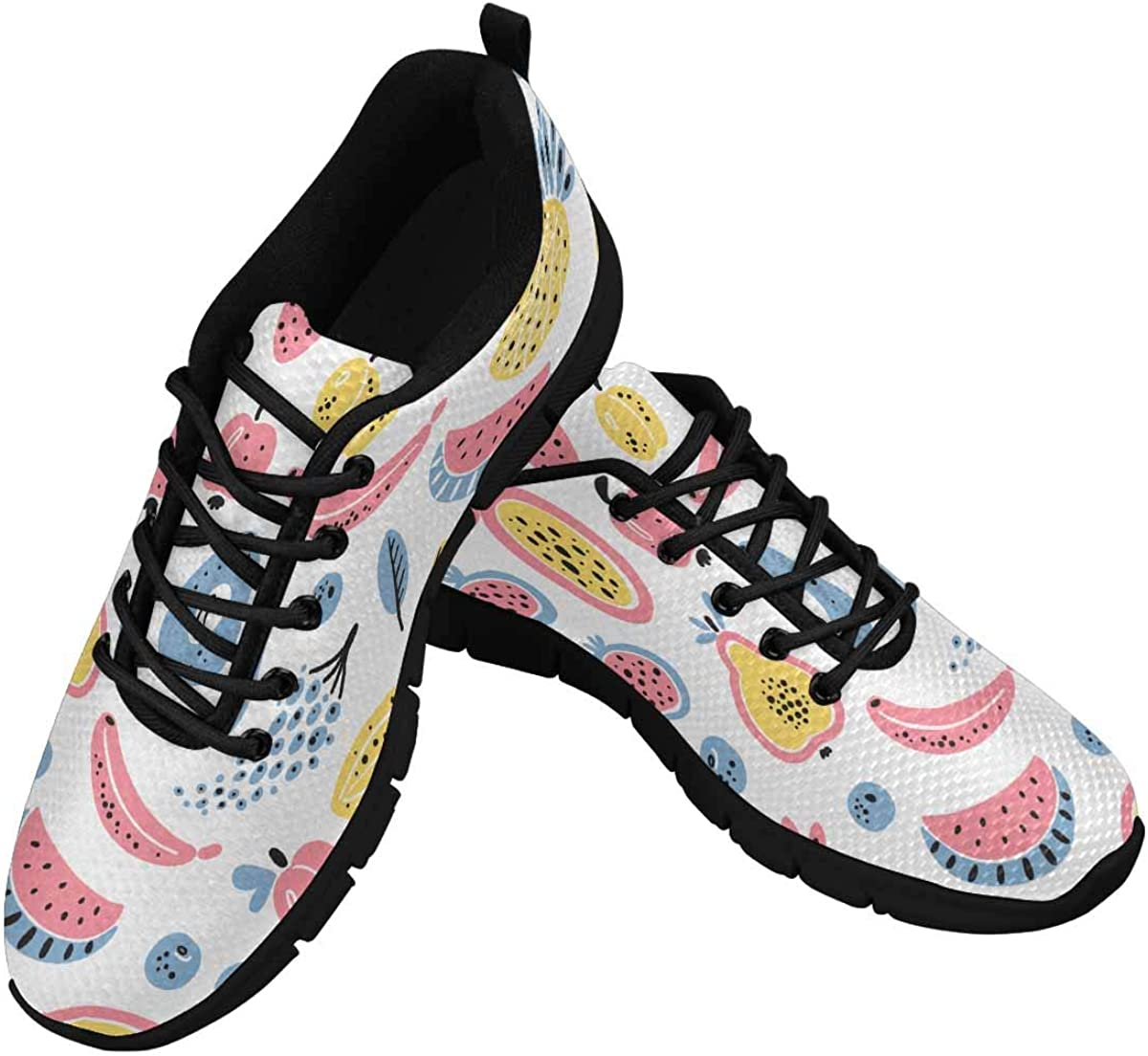 InterestPrint Cartoon Fruits and Berries Women's Breathable Comfort Mesh Fashion Sneakers