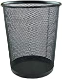 Keep things tidy and clean with this round mesh wire wastebasket. Perfect for corporate offices. Constructed of steel with a reinforced rim and base for strength; black epoxy powder-coat finish provides protection from corrosion in dry environments H...