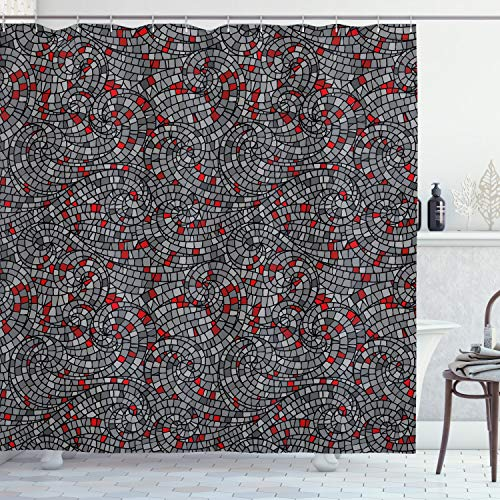 """Ambesonne Geometric Shower Curtain, Modern Mosaic Style Square Shaped Swirls Rounds Circles Artwork, Cloth Fabric Bathroom Decor Set with Hooks, 70"""" Long, Charcoal Grey"""