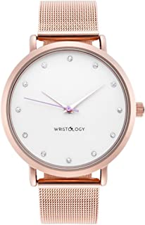 WRISTOLOGY Olivia Womens Watch Crystal Rose Gold Boyfriend Ladies Stainless Steel Metal Mesh Strap Band