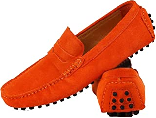 Cover Plus 9 Color Size 5-12 Genuine Suede Leather Driving Moccasin Penny Loafers Slip On Walking Flats Mens Shoes