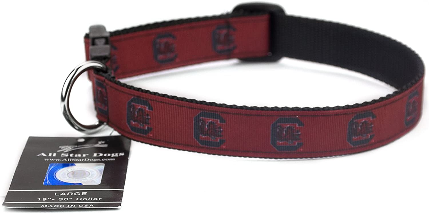 All Star Dogs South Carolina Gamecocks Ribbon Dog Collar  Medium