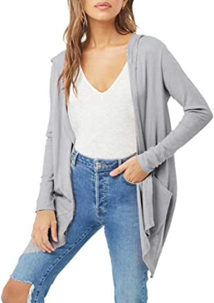 23168b7b66bf TWGONE Cardigan with Pockets for Women Plus Size Shawl Solid Kimono Long  Sleeve Cover Up Top