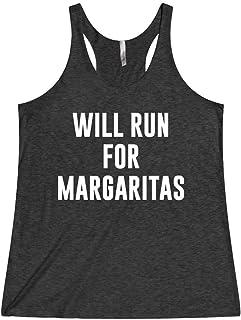 Women's Funny Running Workout Gym Tank Top T Shirt Apparel Will Run For Margaritas