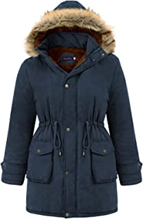 Hanna Nikole Womens Plus Size Hooded Warm Winter Coats with Thicken Fleece Lined Jacket