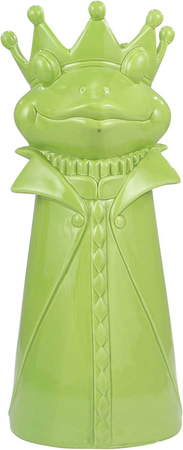 Sagebrook Home 12355-02 Ceramic Frog Umbrella Stand, Green Ceramic, 9 x 9 x 21.25 Inches