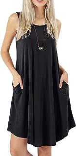 Women's Tank Dress Sleeveless Casual Flowy Swing Cargo Pockets Tunic Dresses