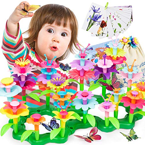Joyjoz Blumengarten Spielzeug Für Mädchen - Kleinkind Spielzeug DIY Bouquet Sets, Draußen Spielzeug Geschenk Für 3-6 Jährige (123 Teile)