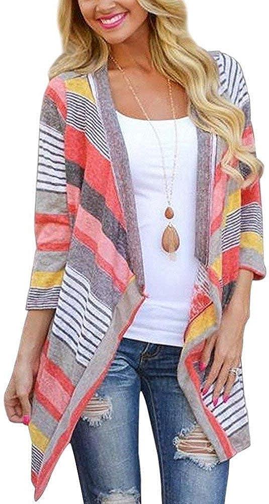 Cardigans for Women with Boho Irregular Front Geometric Print 3/4 Long Sleeve Sweater