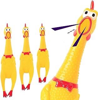 DF-IT Pollo urlante in Gomma Gialla Che schiaccia Il Giocattolo di Pollo novit/à Pollo in Gomma Resistente Regalo Perfetto per Bambini e Cani 3 Taglia Colore: Giallo S