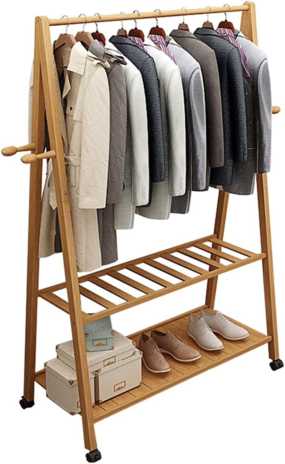 QING MEI Coat Rack Floor Simple Modern Solid Wood Bedroom Moving Rack Simple Hanging Clothes Rack Rack A++ (Size   60X45X165cm)