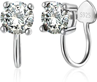Clip on Earrings for Women Girls, Platinum Plated Sterling Silver Cubic Zirconia Clip on Stud Earrings Non Pierced