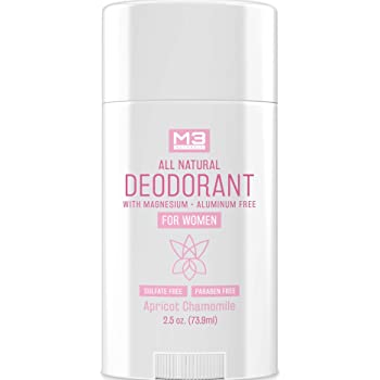 M3 Naturals All Natural Deodorant for Women with Magnesium, Apricot and Chamomile - Long-Lasting, Non-Toxic, Free of Aluminum, Baking Soda, Parabens, Sulfates and Gluten – Vegan, Organic 2.5 oz