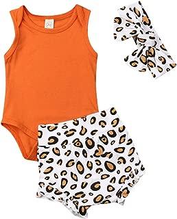 Newborn Baby Girl Summer Clothes Romper Sleeveless Bodysuit Ruffle Shorts Leopard Headband Outfits Set