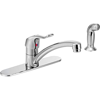 Moen 8717 Commercial M Dura Single Mount Kitchen Faucet With 12 Inch Spout Reach And Side Spray 1 5 Gpm Chrome Touch On Kitchen Sink Faucets Amazon Com