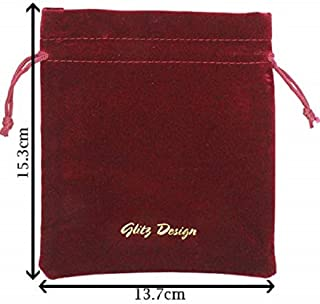 Glitz Design Branded Wine Red Velveteen Drawstring Pouches