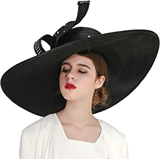 Kueeni Women Hats Hot Red Color Church Hats Lady Party Wear Fedoras Hats
