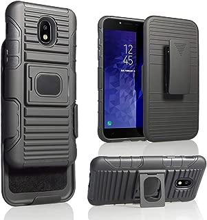Samsung Galaxy J3 2018, J3V J3 V 3rd Gen,Express Prime 3, J3 Star, J3 Achieve, Amp Prime 3 Phone Case, Heavy Duty Shock Absorption Rugged Case With Stand/Magnetic Belt Swivel Clip Holster(Black)