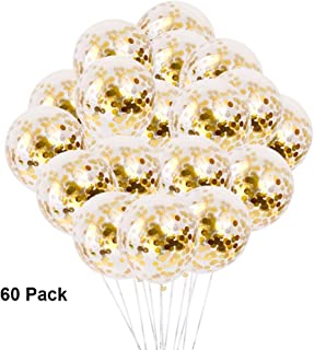 Gold Confetti Balloons Latex Party Balloons Thicken Round 12 Inch Golden Paper Confetti Dots Glossy Balloons for Birthday Wedding Engagement Anniversary Christmas Festival Party Decorations 60 Pack