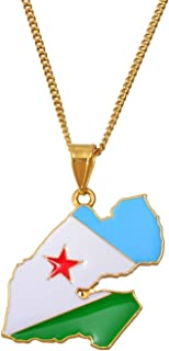 LTH12 Pendant Necklaces - Djibouti Flag & Map Pendant Necklaces for Women Men Gold Color Charm Gabuutih Jewelry #158206 1 PCs