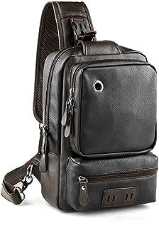 Bestsent Men's Leather Sling Bag Chest CrossBody Bag Casual Backpack for 11 Inch Ipad Pro (Black, Medium)