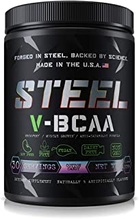 Steel Supplements V-BCAA Vegan High Performance BCAA Powder Soy Free, Gluten Free Build Lean Muscle, Burn Fat 30 Servings (Cotton Candy)