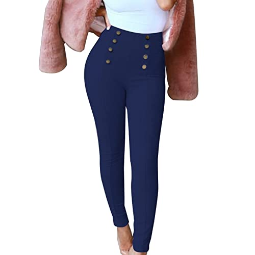 ee75d36083f GUOLEZEEV Womens Skinny Pencil Pants Suede High Waisted Ankle Length  Leggings with Button Embellish