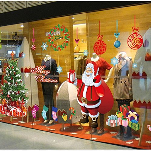 Yusongirl DIY Christmas Windows Stickers Santa Claus Wreath Snowflakes Xmas Tree Window Clings Glass Door Decals PVC Static Sticker for Showcase Winter Party Decorations (4 Sheets)