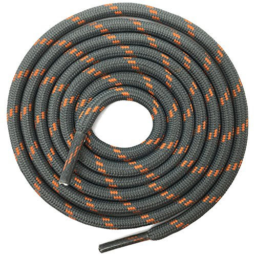 DELELE 2 Pair Thick Round Climbing Shoelaces Gray Orange Dots Hiking Shoe Laces Boot Laces 6102 inch