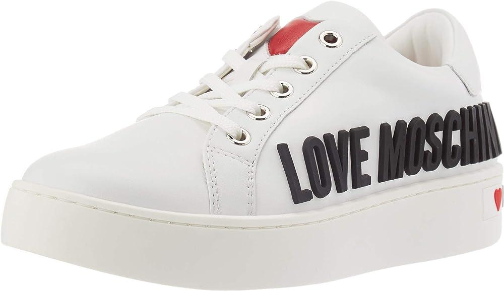 Love moschino scarpe sneakers da donna in pelle JA15043G1BIA0000