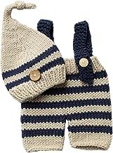 مجموعة ملابس لحديثي الولادة من الكروشيه المنسوج يدويًا للرضع بدلة تصوير فوتوغرافية مخططة (قبعة بيج+ سروال أزرق داكن)