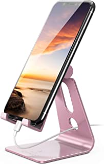 Adjustable Cell Phone Stand - Lamicall Phone Desk Holder, Cradle, Dock, Mobile Smartphone Stand, Compatible with iPhone 12...