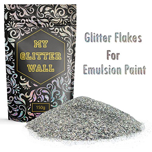 150g silbener Glitzer für Dispersionsfarbe, glitzernde Wanddekoration, perfekt für Innen und Außen