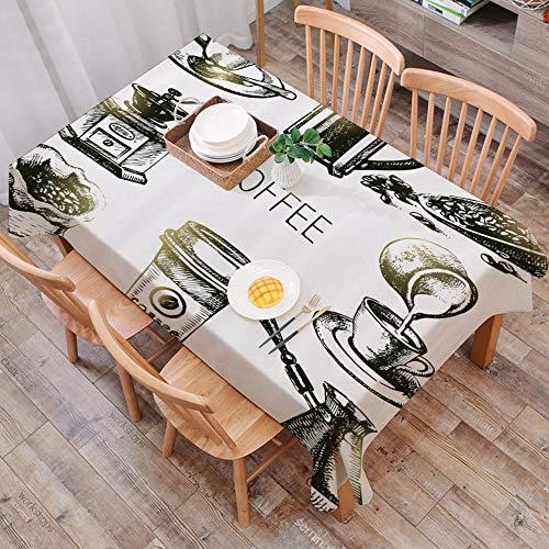 Mantel Antimanchas Rectangular Impermeable,Café, Equipo de elaboración de cerveza Doodle Sketch Grinder French Press,Manteles Mesa Decorativo para Hogar Comedor del Cocina,(140 x 200 cm/55*78 pulgada)
