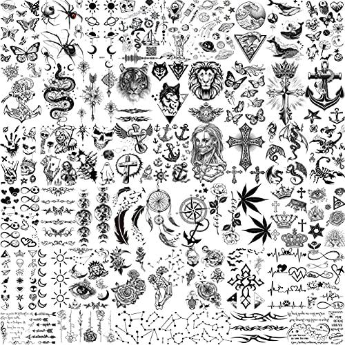 Moheer 52 Blätter Schwarz Klein Temporäre Tattoos Männer Frauen Arm Gesicht Hals Fake Tattoos Kinder Erwachsene Realistische Krone Anker SchäDel Tatoos 3d Mond Blume Tattoos Zum Aufkleben Auf Die Haut
