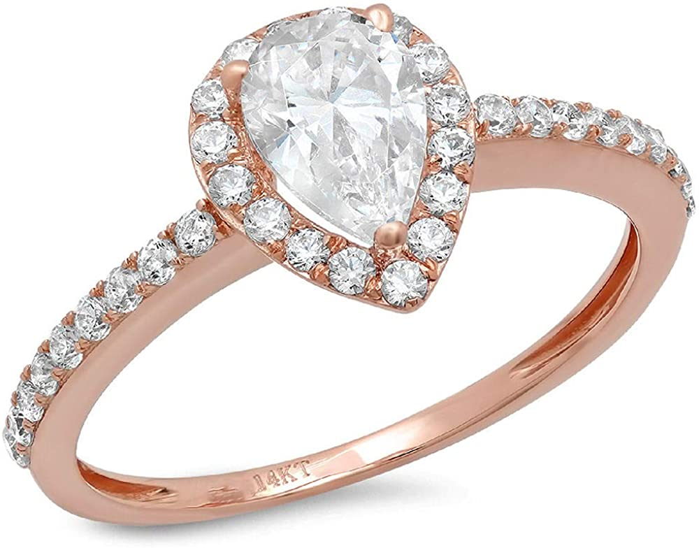 Clara Pucci 1.42 Ct Pear Cut Halo Promise Wedding Engagement Bridal Anniversary Ring Band 14K Rose Gold