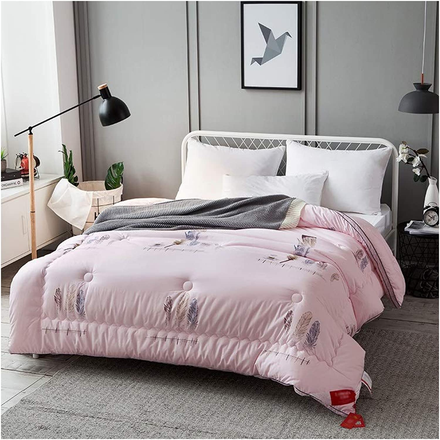 Warm Quilt Exquisite Duvet Winter Thickened Warm Single Double Bedding - Pink Comforter Family Student Dormitory - Pure Cotton Fabric Fashion Printing Quilt Antiallergic Quilt
