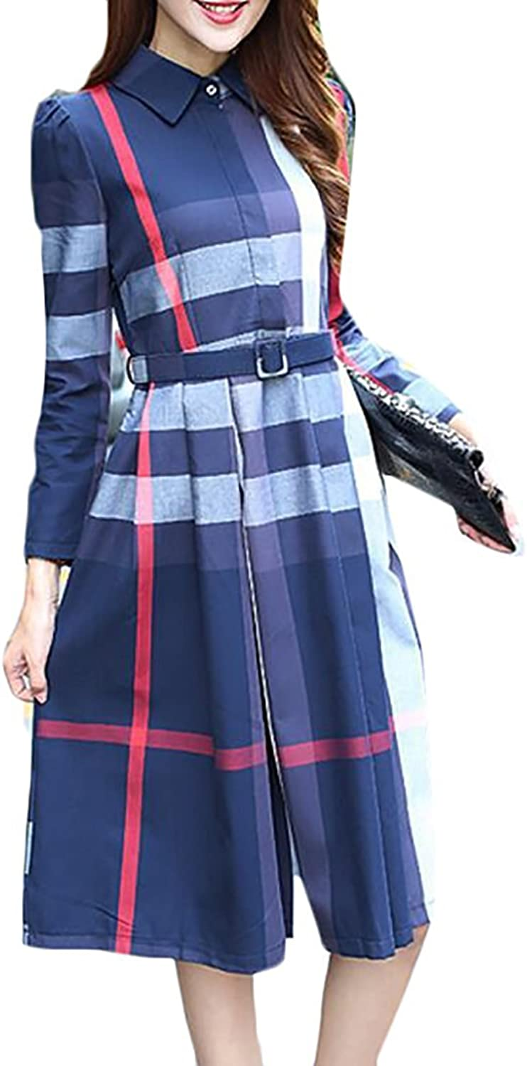 FashionRun Womens Slim Plaid Long Sleeve ALine Midi Swing Dress with Belted