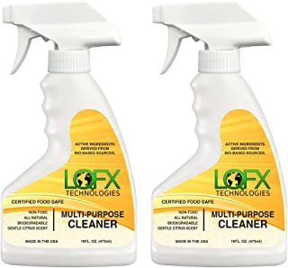 Liquifix LQFX Multi Purpose Cleaner Bio-Based Ingredients, Non-Toxic, Food Safe, Safe Around Kids and Pets - 16oz 2-Pack
