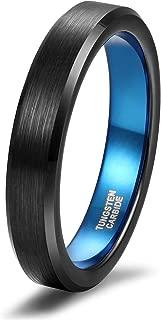 4mm 6mm 8mm 10mm Tungsten Ring Wedding Band for Men Women Black/Silver/Blue Brush Bevel Edge Comfort Fit Size 4-15