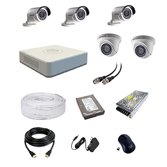 Hikvision Ultra HD 2MP Cameras Combo KIT 8CH HD DVR, 2 Dome Camera, 3 Bullet Camera, 1 TB Hard Disk, Wire ROLL, Power Supply & All Required Connectors (2 Year Warranty)