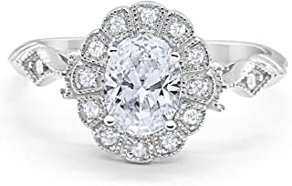 Oval Art Deco Halo Wedding Enagement Bridal Ring Oval Round Cubic Zirconia 925 Sterling Silver