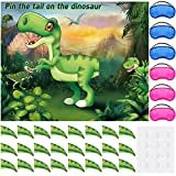 Pin The Tail on The Dinosaur Game with 24 Pieces Dinosaur Tail Stickers Horns and 6 Pieces Colorful Blindfolds for Dinosaur Birthday Party Supplies Dinosaur Party Game for Kids