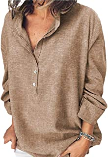 Unko Women's Long Sleeves Casual Loose Henley Tops Button Down Blouse Shirts