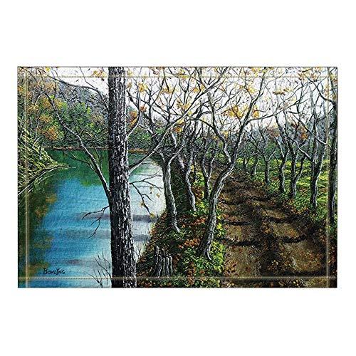 Oktbrn Decoratie olieverfschilderij straten landelijk bomen waterlopen badmat antislip deurmat ingang vloer deur vooraan binnen buiten mat 15,7 x 23,6 in