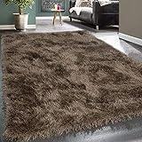 [page_title]-Paco Home Moderner Wohnzimmer Shaggy Hochflor Teppich Soft Garn In Uni Braun Beige, Grösse:80x150 cm