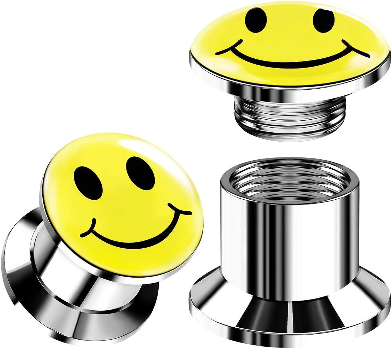 BIG GAUGES Pair of 316L Surgical Steel Smiley Logo Screw Flesh Tunnels Piercing Jewelry Stretcher Earring Internal Ear Lobe Plugs