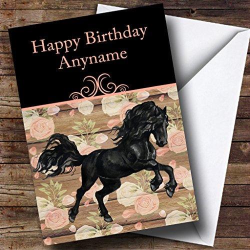 Mooie Zwarte Friese Paard Gepersonaliseerde Verjaardagskaart