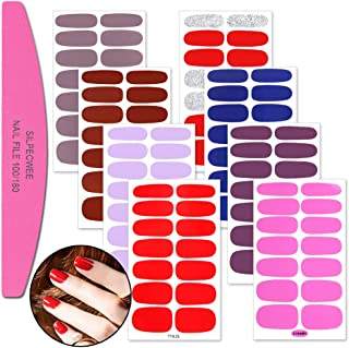 SILPECWEE 8 Sheets Adhesive Nail Art Stickers Tips And 1Pc Nail File Solid Color Nail Wraps Decals Manicure Polish Strips Set For Women
